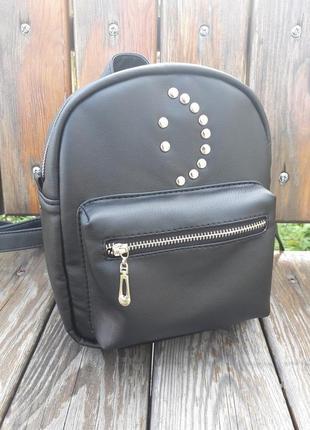 Женский рюкзак маленький чёрный  для прогулок, учебы, города smile2