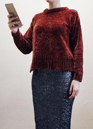 Бархатный свитер оверсайз1