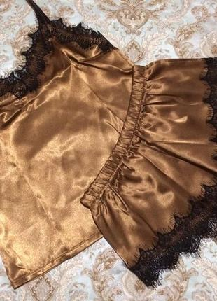 Пижама, атласный комплект с кружевом. размер s 423