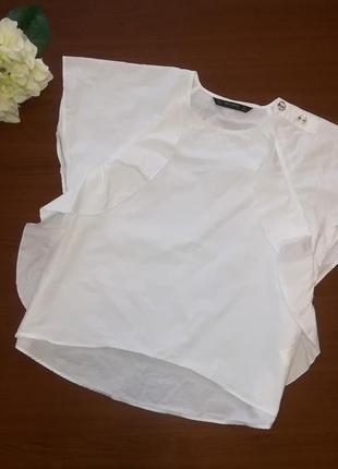 Белоснежная котоновая блузка с воланами zara bazic s(26)