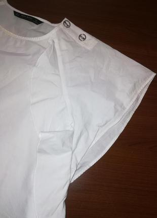 Белоснежная котоновая блузка с воланами zara bazic s(26)2