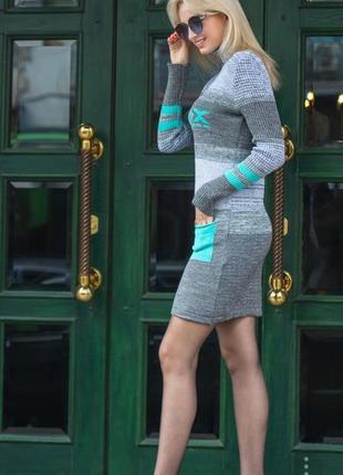 Теплое вязанное платье с карманами (сер.меланж мята)2