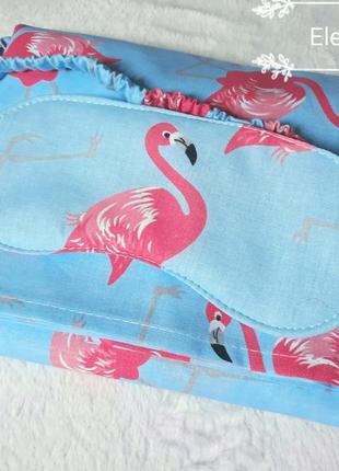 Пижама с фламинго + подарок (маска для сна), вещи для дома, акция!4