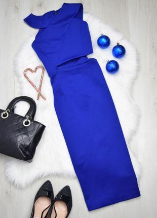 💙 красивое яркое стильное ассиметричное синее миди платье вырезы aq/aq 💙👗