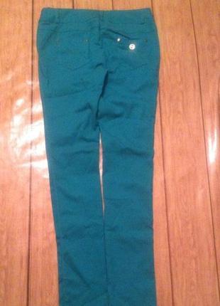 Стильные стрейчевые бирюзовые брюки в стиле etro s-m, 44-46.турция1