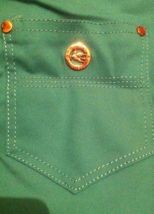 Стильные стрейчевые бирюзовые брюки в стиле etro s-m, 44-46.турция2