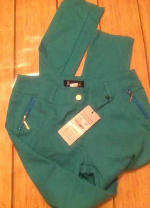 Стильные стрейчевые бирюзовые брюки в стиле etro s-m, 44-46.турция5