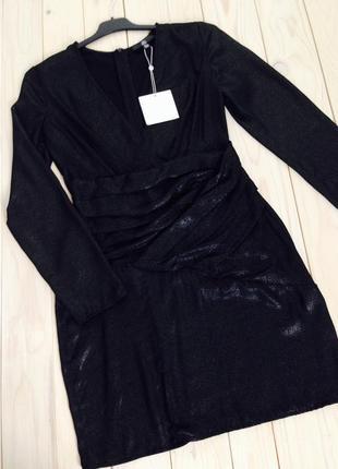 Сногсшибательное вечернее новогоднее платье с присборенной тканью разрезом missguided5 фото