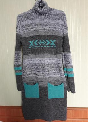 Теплое вязанное платье с карманами (сер.меланж мята)3