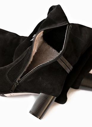 Женские зимние ботфорты из натуральной замши или кожи размеры 35 36 37 38 39 40 черные5