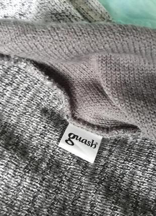 Теплое вязанное платье с карманами (сер.меланж мята)5