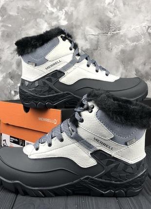 Белые, бело-серые зимние женские ботинки оригинал1