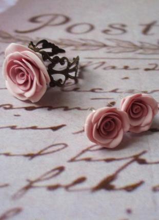 Набор кулон серги и кольцо цвет пыльная роза беж нюд2