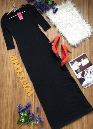 Стильное длинное черное платье в обтяжку с рукавом 3/4 от pink boutique хs1