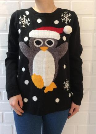 Распродажа!!женский новогодний свитер!!зимний тёплый с принтом!!