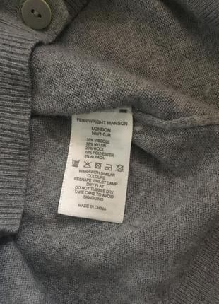 Серый кардиган из альпаки, шерсти и вискозы fenn wright mason studio4