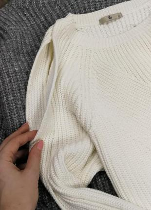 Белый свитер с вырезами на рукавах 185008 tu размер uk12 (s/m)2