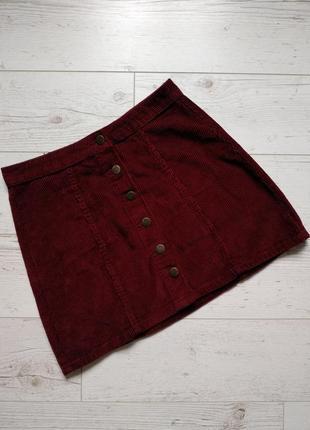 Вельветовая юбка на пуговках р. m/l2