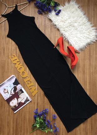 Макси платье в рубчик с разрезами1 фото