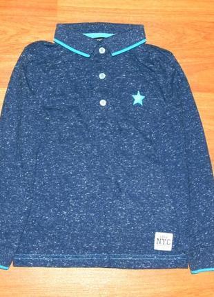 Стильная синяя кофта,реглан,поло,3-4 года,98,104 состояние новой