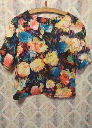 Плотная блуза топ оверсайз цветочный принт м,l1