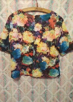Плотная блуза топ оверсайз цветочный принт м,l3