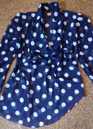 Обворожительная блуза блузка в горошек горох 48-50,14-16 uk4