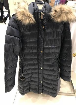 Зимняя куртка reserved синяя перламутр удлинённая пальто, пуховик reserved в наличии2