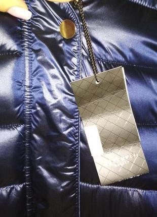 Зимняя куртка reserved синяя перламутр удлинённая пальто, пуховик reserved в наличии4