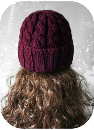 Любая расцветка! с помпоном и без! хлопковая шапка с отворотом/косы/бургундского цвета2 фото