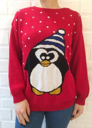 Распродажа новогодний зимний женский свитер с принтом!!теплый зимний oversize!