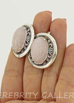10% скидка - подписчикам! красивые серьги серебряные с розовым кварцем  h 2629 wpi3