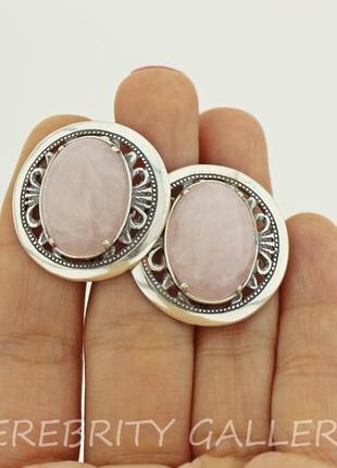 10% скидка - подписчикам! красивые серьги серебряные с розовым кварцем  h 2629 wpi1