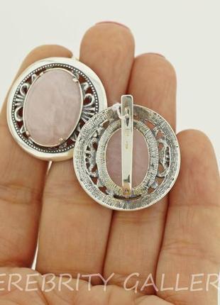 10% скидка - подписчикам! красивые серьги серебряные с розовым кварцем  h 2629 wpi4