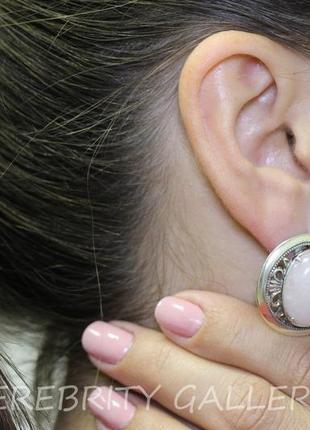 10% скидка - подписчикам! красивые серьги серебряные с розовым кварцем  h 2629 wpi5