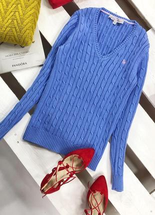 Стильный свитер в косы плотной вязки дорогого бренда crew clothing1