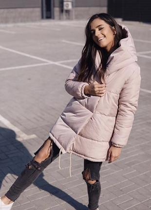 Земфирка - пальто бежевого цвета / зимняя куртка / одеяло / на синтепоне 3002 фото