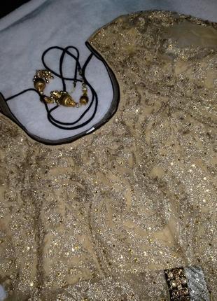 Невероятное восточное платье этно расшито золотом камнями3