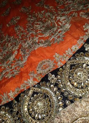 Невероятное восточное платье этно расшито золотом камнями4