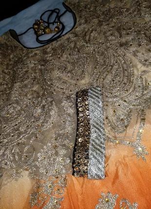 Невероятное восточное платье этно расшито золотом камнями5
