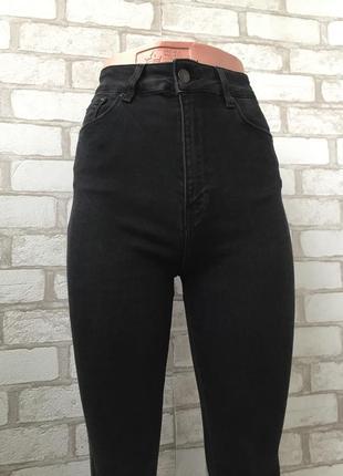 Офигенные чёрные джинсы на талию , скинни с высокой посадкой3