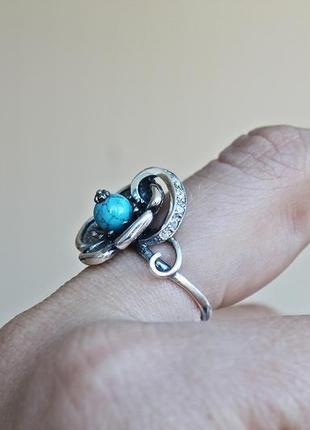 Серебряное кольцо анемона р.18,54 фото