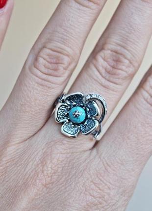 Серебряное кольцо анемона р.18,52