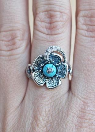 Серебряное кольцо анемона р.18,51 фото