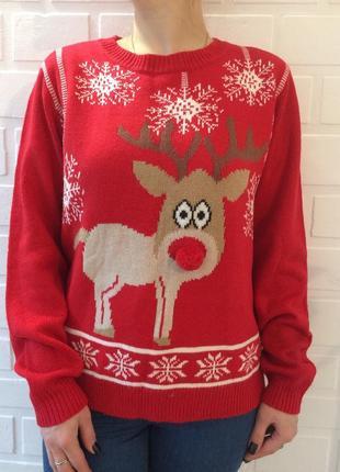 Зимний новогодний женский свитер!распродажа!!теплый!!