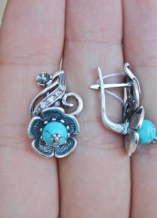 Серебряные серьги анемона2 фото