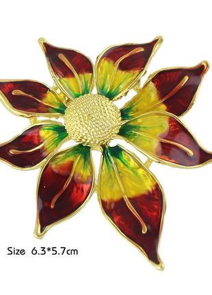 Яркая шикарная дизайнерская брошь аленький цветок эмаль позолота1 фото