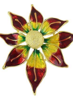 Яркая шикарная дизайнерская брошь аленький цветок эмаль позолота
