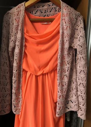 Оранжеве плаття+ кофта у подарунок🌸