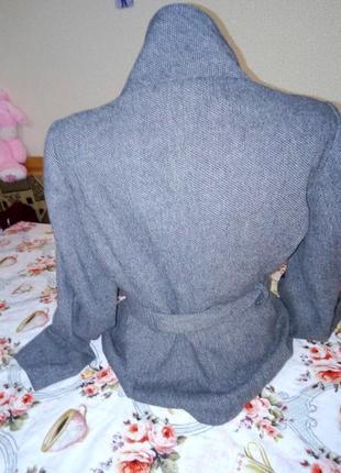 Шерстянное пальто клетка демисезонное нарядное воротник стойка4 фото
